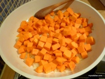 Add the diced squash