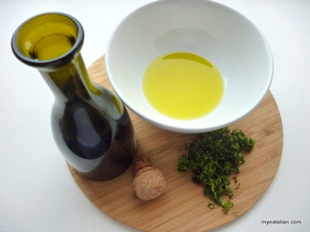 Balsamic Vinegar, Oil and chopped herbs and garlic